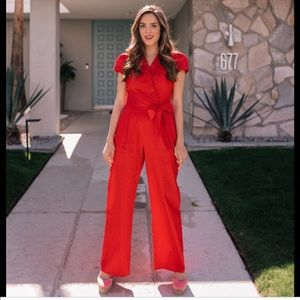 Gal Meets Glam Camille red jumpsuit New!